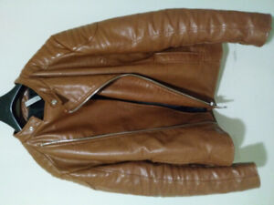 Brand new ZARA Mens Brown Leather Jacket!!