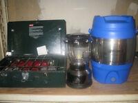 Camping set, coleman stove, lantern, cooler