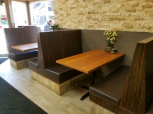 Restaurant booths with tables