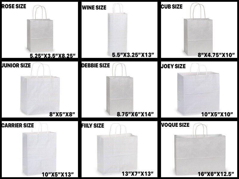 WHITE Kraft Shopping Gift Bags 60# paper weight Choose Size