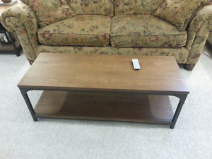 Coffee table, end tables, tv stand/bookcase, 2 lamps and couch.