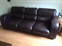 3 seater leather sofa & arm chair