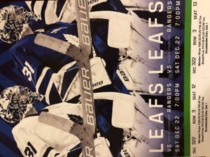 Leafs vs Rangers Sat Dec 22nd