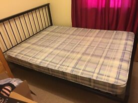 King Size Black Metal Bed (with or without mattress)