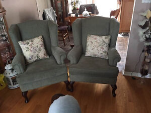 chesterfeld and 2 wing back chairs