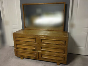Vintage art deco Gibbard solid wood dresser with attached mirror