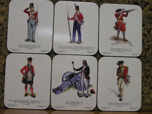 New Unused Six War of 1812 British Regiment Coaster Collectible