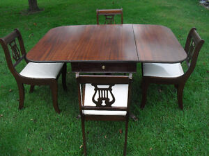 Oak Dining Table Drop Leaf with 4 Chairs