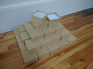 """Kraft Recycled Paper Gift Boxes - 3.5"""" x 3.5"""" x 2"""" - cotton fill"""