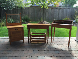 Antique table, desk and washstand