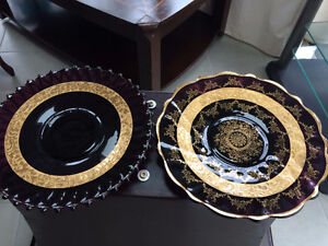 Extremely Rare 2 Irish 24K Gold Trimmed Black Amethyst Plates