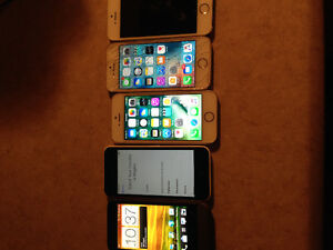 5 cell phones , 4 iPhone 5's , laptop and htc one v