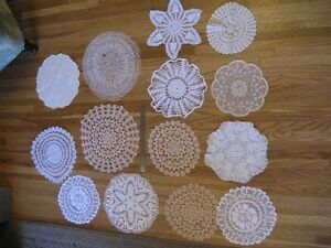 Set of 14 Assorted Doilies - great for vintage wedding decor...