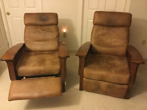 2 solid wood - leather look upholstery Mission style chairs Kitchener / Waterloo Kitchener Area image 1