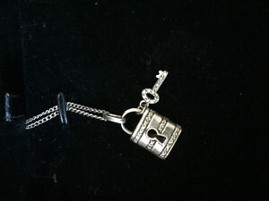 Sterling silver lock and key necklace