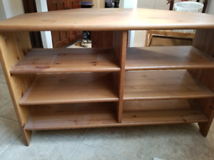 Corner wood stained tv stand with 3 shelves