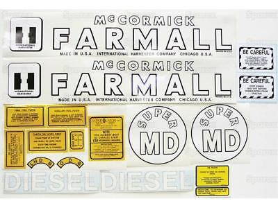 Ih Farmall Super Md Tractor M Diesel Vinyl Decal Setkit International Mccormick