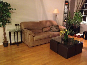 Beige Couch with pull out bed