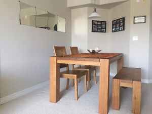 Crate & Barrel: Dining Table (Solid White Oak wood)