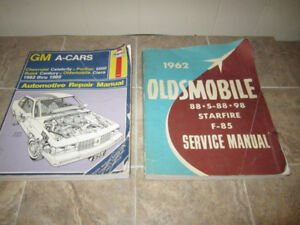 2 Books 1962 Oldsmobile Service manual and GM A-Cars 1982 to 198