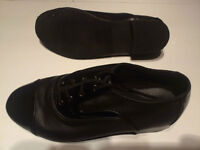 Black leather with patent trim ballroom dance shoes
