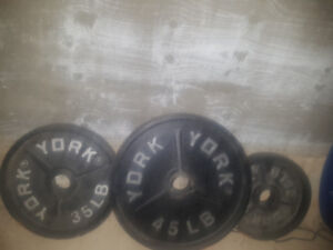 Olympic bar with adjustable bench and plates