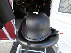 Black leather clad helmet in xx-large    recycledgear.ca Kawartha Lakes Peterborough Area image 3