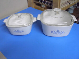 2  CORNING WARE CORNFLOWER CASSEROLE DISHES 3 QUART AND 7 CUP