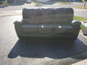 Black Leather Reclining Sofa Set
