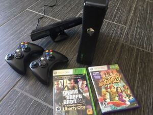 X box 360 Kinect 4g with 2 controllers and 2 games