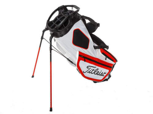 """Brand New Titleist Hybrid 14 White/Red/Black Stand Bag. """"Trial Bag"""" Embroidery"""