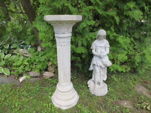 Sought After Solid Concrete Yard Flower Pedestal and Figure