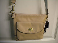 COACH BEIGE LEATHER CROSSBODY PURSE NEW NEVER USED!