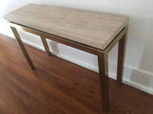 Travertine and Brass Console Table