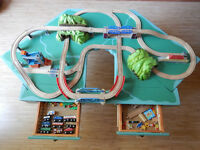 Train Table with Wooden Trains