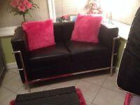 3 x2 seater corbusier black leather sofas