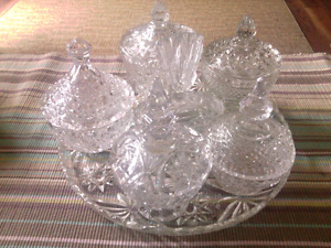 Beautiful 6 pc. Crystal cut glass candy dishes on glass tray.
