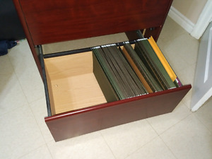 FILING CABINET.  2 DRAWER LEGAL SIZE WOOD (CHERRY) FINISH