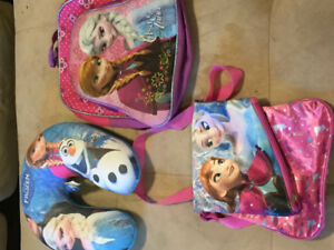 Frozen bagpack, neck pillow , reversible sling bag