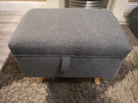Grey storage footstool