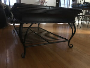 Unique rustic wrought iron and solid wood coffee and end table
