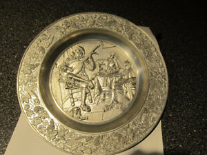 Vintage Zinn Becker Stuttgard pewter wall decor plate.