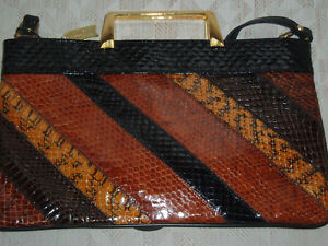 MULTICOLORED SNAKESKIN HANDBAG W / STRAP