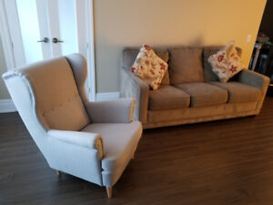 SOFA BED + SINGLE CHAIR + TV/MEDIA CONSOLE