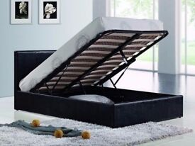 EXPRESS DELIVERY BRAND NEW DOUBLE LEATHER OTTOMAN STORAGE BED FRAME WITH FULL FOAM MATTRESS £209