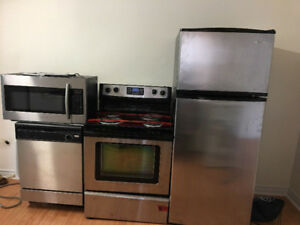3 piece stove dishwasher over the range microwave steel