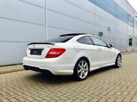 2011 61 reg Mercedes-Benz C250 CDI AMG Sport Coupe + WHITE + PANORAMIC SUNROOF