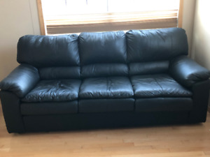 Genuine black leather couches - $500 each or $900 for both