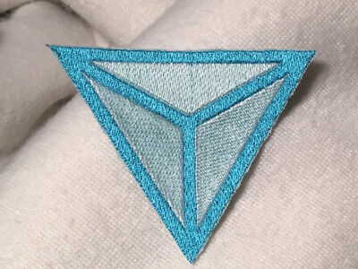 Identity Europa Logo Embroidered Patch Iron On Backing Light Blue White Evropa