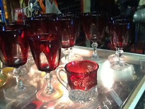 LIKE NEW! 13 Piece Red Glass Set for only $10!!!